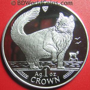 1991-ISLE-OF-MAN-1-ONE-CROWN-1oz-SILVER-PROOF-NORWEGIAN-CAT-FELINE-WORLD-COIN