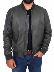 da337fa0d Details about Mens Bomber Leather Jacket DARK BROWN Classic Varsity Slim  Fit Zip Fasten Coat