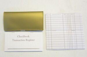 1 YELLOW VINYL CHECK BOOK COVER  /& 6 CHECKBOOK TRANSACTION REGISTERS