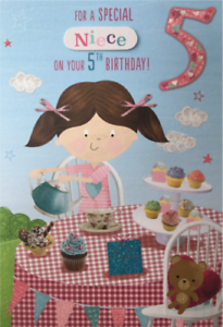 5 5th Granddaughter Niece Little Girl Sister Daughter Goddaughter Birthday Card