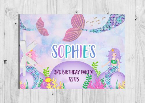 PERSONALISED Mermaid Guest Book Birthday Cute Pink Keep Sake Games Girl