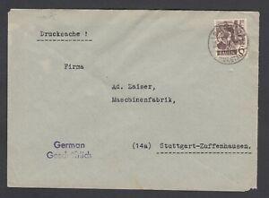 Franzoesische-Zone-Baden-Mi-Nr-15-als-EF-auf-Drucksache