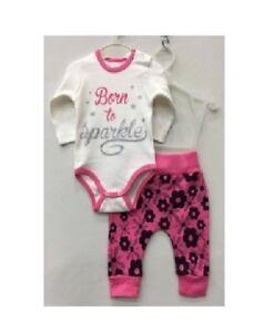 2PC del Niño Bebé Niña Conjunto De Body manga larga + pantalones de algodón  ropa ... 7f36edb15842