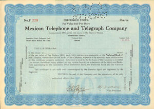 Mexican-Telephone-and-Telegraph-Company-preferred-stock-certificate-Mexico-share