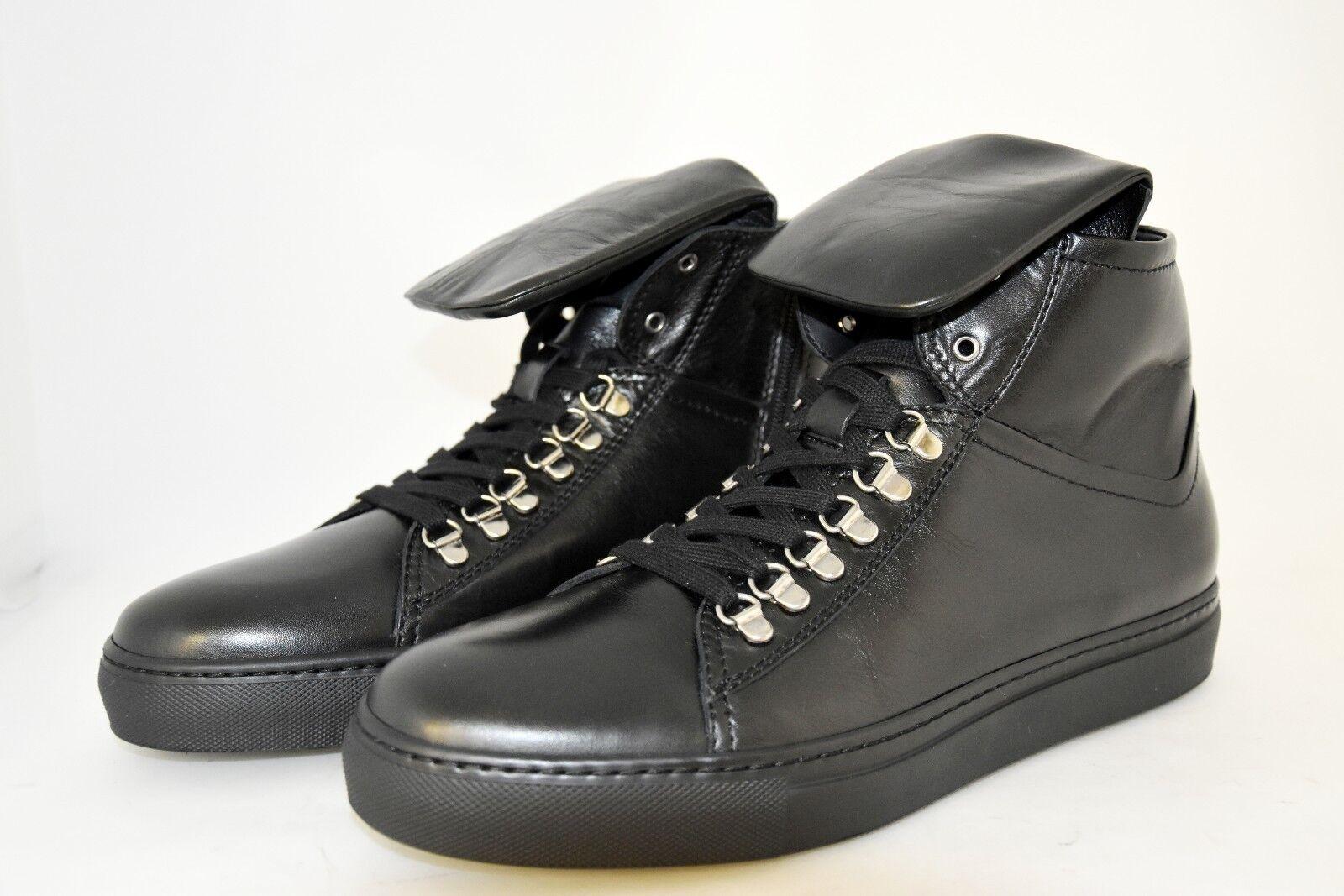 MAN-44eu-10eu-11usa-HIGH scarpe da ginnastica-nero CALF-STITCHED RUBBER SOLE