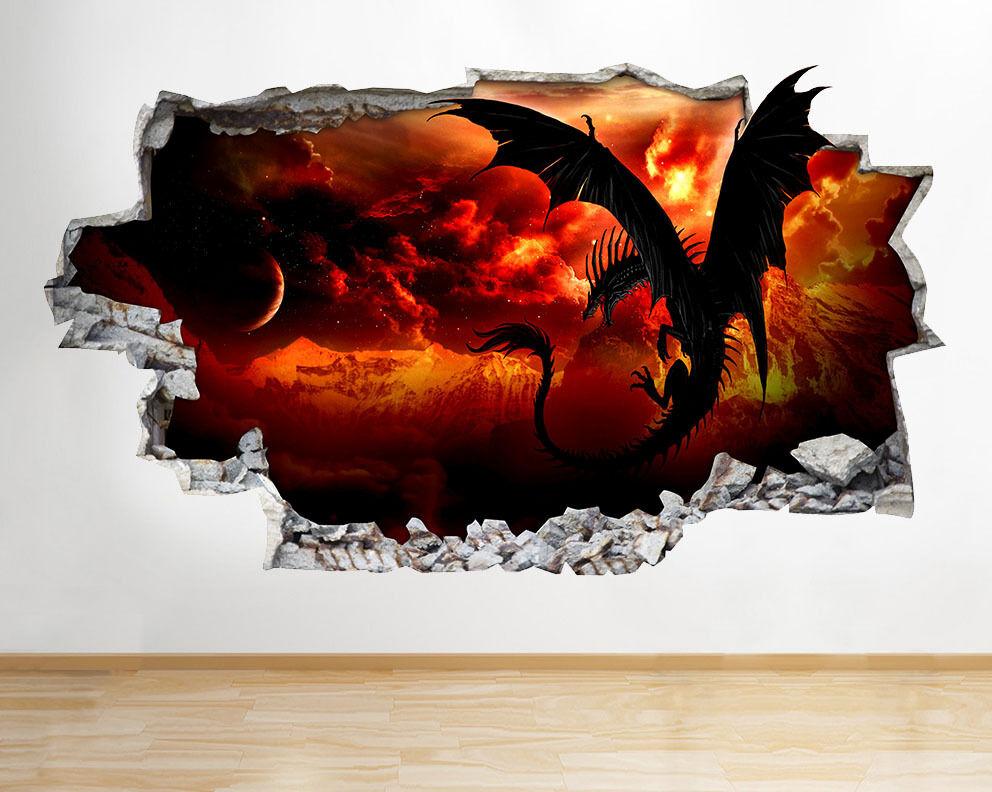 C149 Dragon Smas Wings Feu de lave fraîche Smas Dragon Autocollant Chambre 3D Vinyle enfants 04e7b9