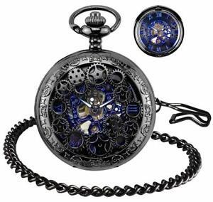 Herren-Taschenuhr-Kette-Retro-Steampunk-Skelett-Uhr-Mechanisch-Handaufzug
