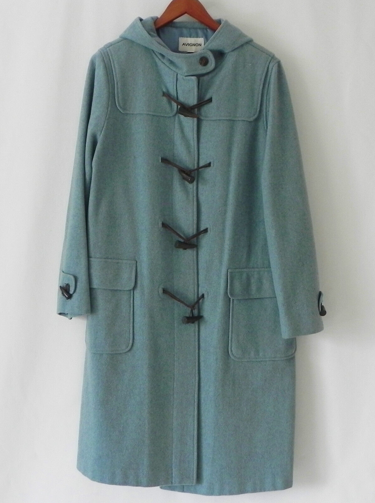 Avignon Duffle Coat 100% Wool Light bluee Hodded Size L XL