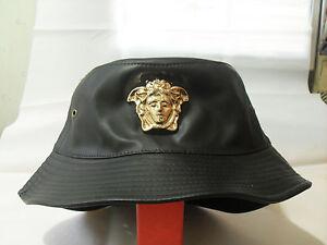 Medusa gold 3D medallion patent faux leather fashion bucket hat cap ... f57c6cd697d