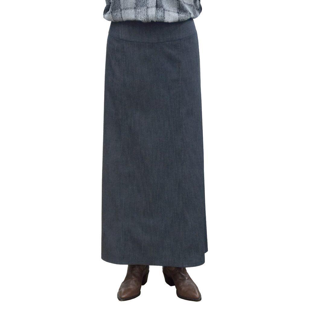 Baby'O Women's Long Ankle Length Stretch Denim A-Line Panel Skirt