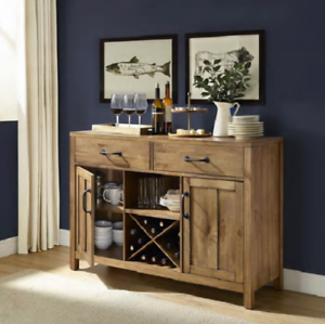 Details about Modern Dining Room Storage Buffet Table Cabinet Wine Rack  Natural Rustic Finish