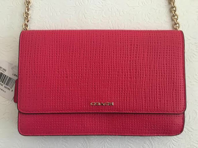 1e629b44059f Coach Madison Embossed Pink Ruby Leather Crossbody Shoulderbag ...