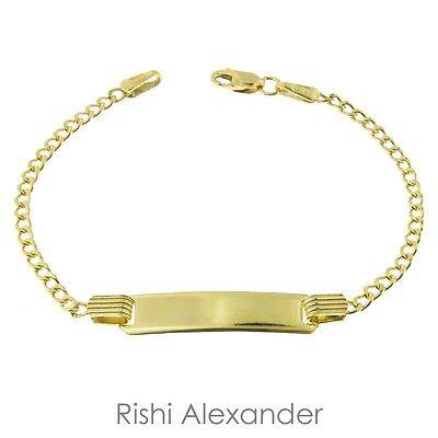 68d424e3d1d19 10k Gold Curb Link Children ID Bracelet Personolized Name Engraved | eBay
