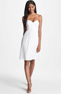 NEW! Donna Morgan 'Morgan' Strapless Ruched dress White Lilly SZ 10 #D77