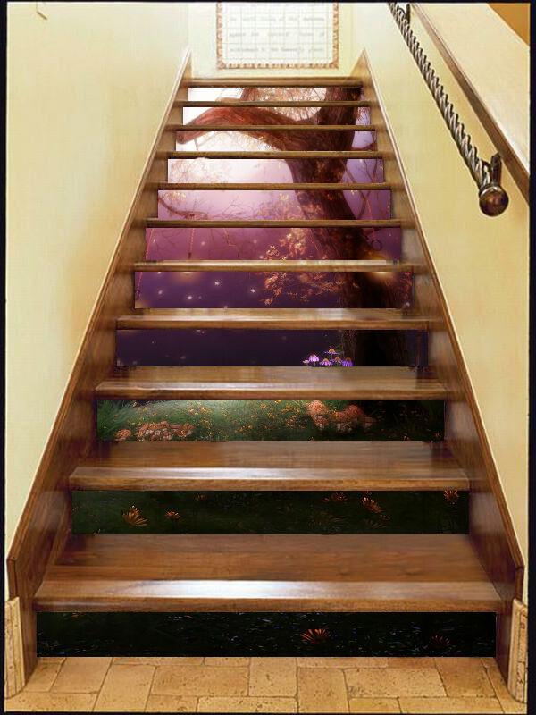 3D Tree light 235 Stair Risers Decoration Photo Mural Vinyl Decal Wallpaper UK