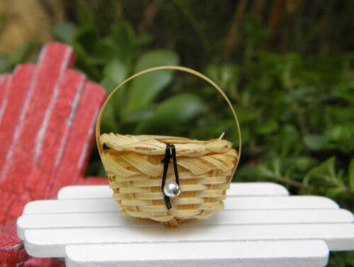 Miniature Dollhouse FAIRY GARDEN Accessories ~ Small Straw Picnic Basket ~ NEW