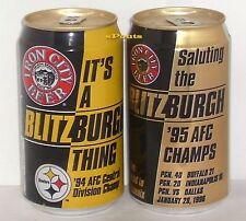 VINTAGE PITTSBURGH STEELERS 1994+95 BLITZ-BURG BEER CANS NFL FOOTBALL IRON SPORT