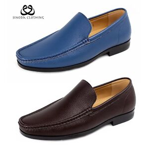 Mens Casual Leather Loafers Smart Slip On Comfort Driving Boat Shoes Moccasin