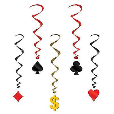 Casino Card Suit Whirls Decorations -Las Vegas Party Decorations