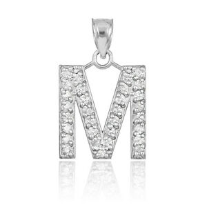 10k letter m initial white gold pendant necklace with diamonds image is loading 10k letter 034 m 034 initial white gold mozeypictures Images