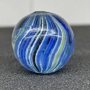 "Antique Vintage .84"" German Joseph's Coat  Onionskin Swirl Handmade Glass Marble"