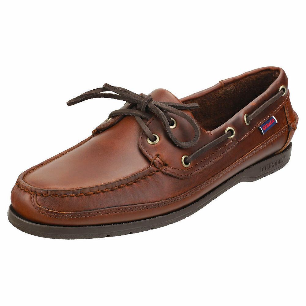 Sebago Schooner Homme Brown Gum Cuir Chaussures Bateau