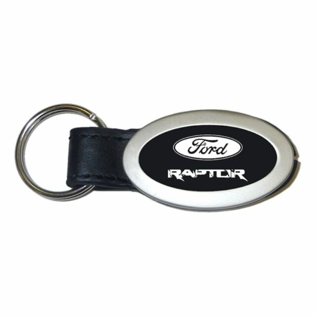Lincoln MKS Key Ring Black and Chrome Leather Oval Keychain