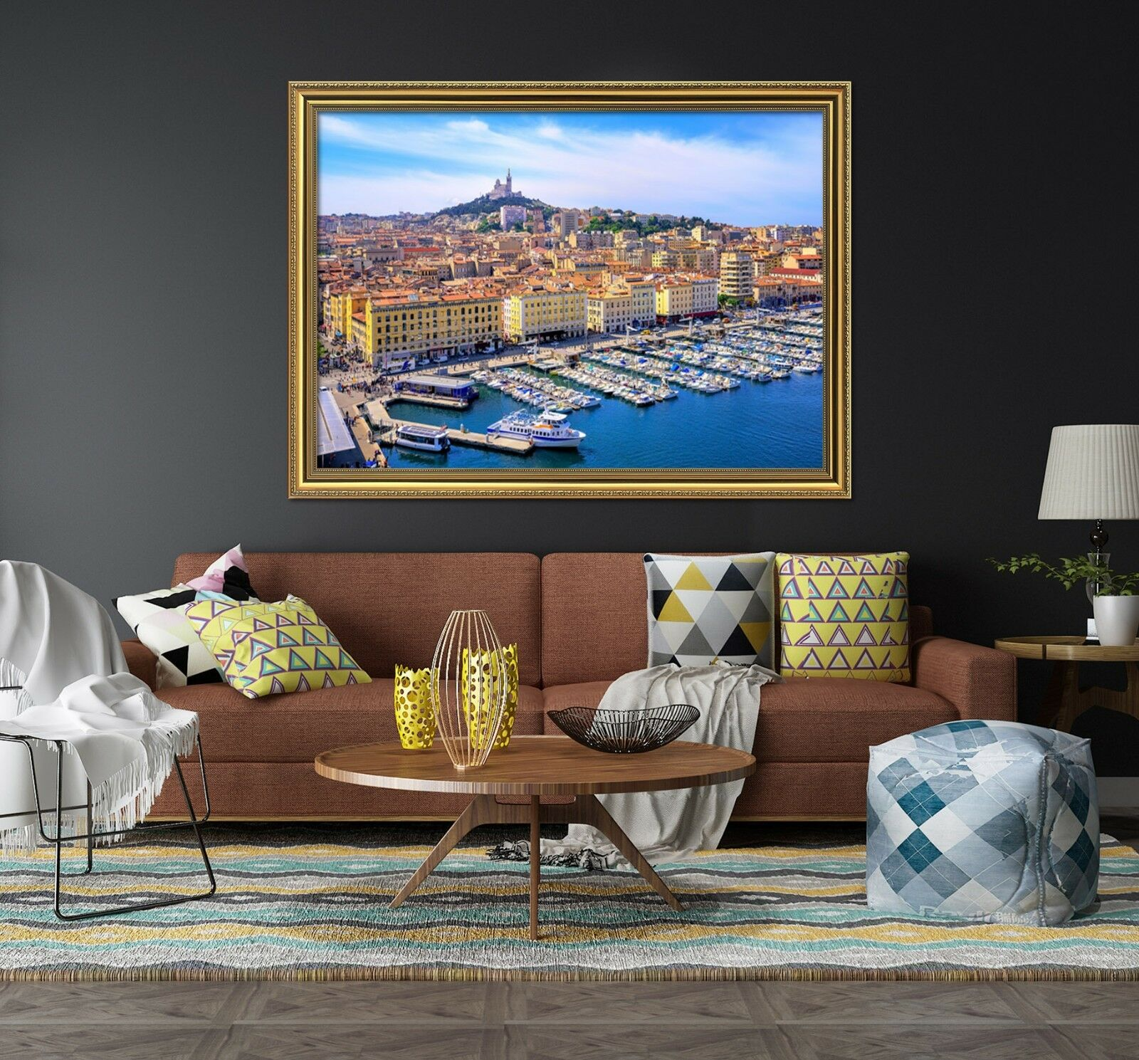 3D barco 3 póster enmarcado de la ciudad de Agua Decoración del Hogar Pintura de Impresión Arte AJ Wallpaper