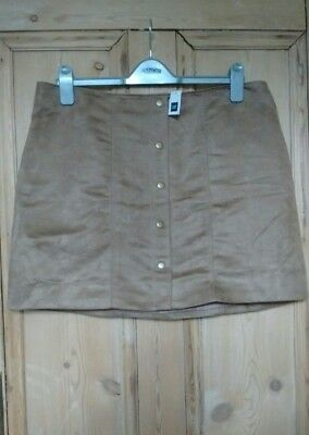 Faux Suede Brown Skirt With Button Front Selling Well All Over The World New/bnwt Gap Size Uk 18 us 14