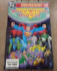 Rare-Soft-Cover-Comic-Book-DC-Invasion-Book-Three-World-Without-Heroes