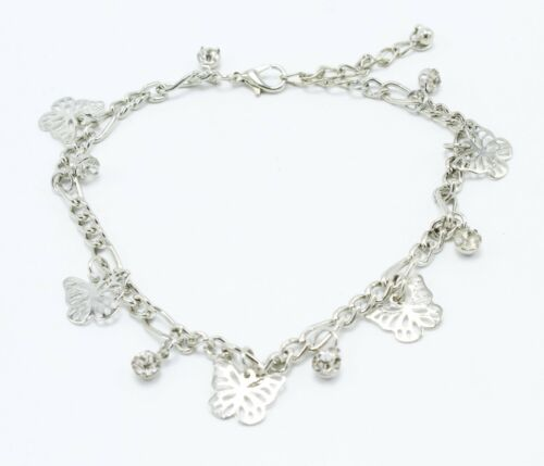 New Silver Tone Anklet with Butterfly /& Rhinestone Drops /& Bonus Toe Ring #A104