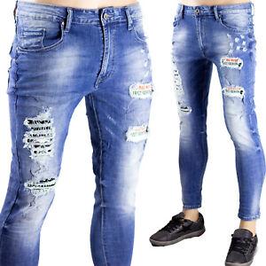 Jeans Blu Chiaro Uomo Pantaloni Strappati Particolari Elasticizzati Toppe Novità