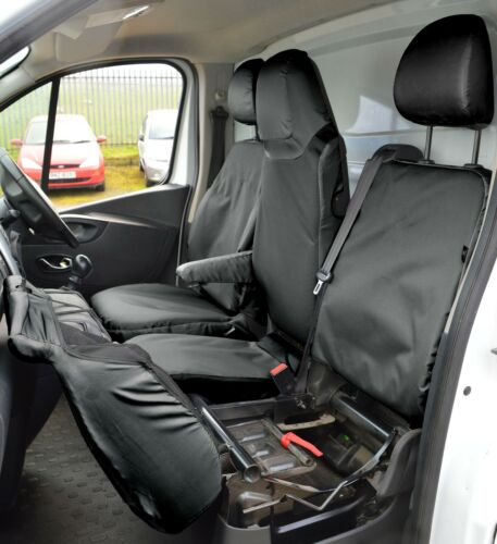 Vauxhall Vivaro Tailored Waterproof Tough Heavy Duty Van Seat Covers In Black