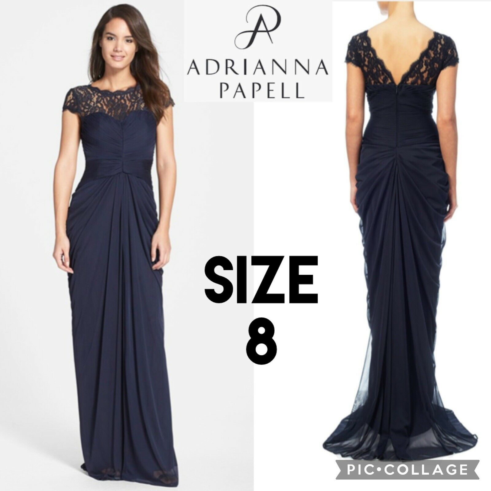 ADRIANNA PAPEL Womens Dress CAP SLEEVE GOWN NAVY Mother of the Bride V Back 8