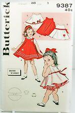 Butterick 9387 Vintage Sewing Pattern Girls Toddler Dress Blouse & Panties SZ 1