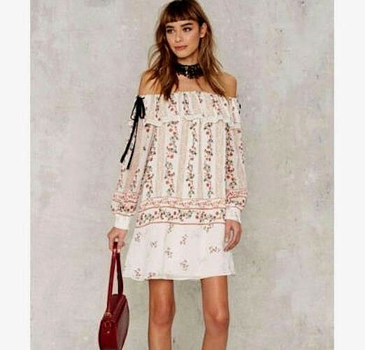 NEW NWT ANTHROPOLOGIE OFF THE SHOULDER RUFFLED FLORAL PRINT DRESS IVORY MULTI