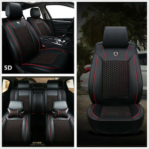 5-Seats-Vehicles-Seat-Full-Surrounded-Protector-Covers-Mat-Leather-PU-amp-Ice-Silk