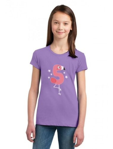Flamingo 5th Birthday Gift for Five Year old Girls/' Fitted Kids T-Shirt 5 year
