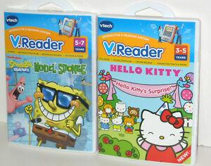 2-Lot-VTech-Vreader-Learning-Games-Hello-Kitty-amp-Spongebob-Squarepants-NEW