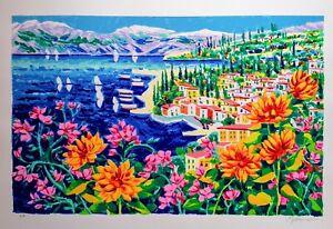 Athos Faccincani serigrafia firmata e certificata su tela 54 x 84 Lago di Garda