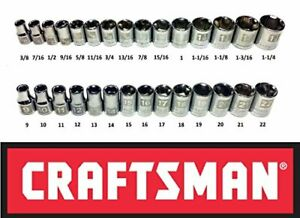 Craftsman Easy Read Socket 1//2 Drive 6 or 12 Point SAE Metric Deep or Standard