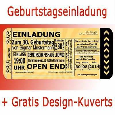 Einladungskarten Geburtstag Einladung Geburtstagseinladungen Ticket