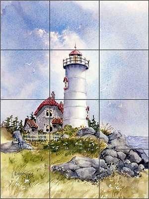 Ceramic Tile Mural Backsplash Hopkins Pemaquid Point Lighthouse Art CCI-EH106