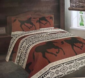 King HORSE MEDLEY 3pc PATCH WESTERN COWBOY RANCH GREEN FLORAL QUILT SET