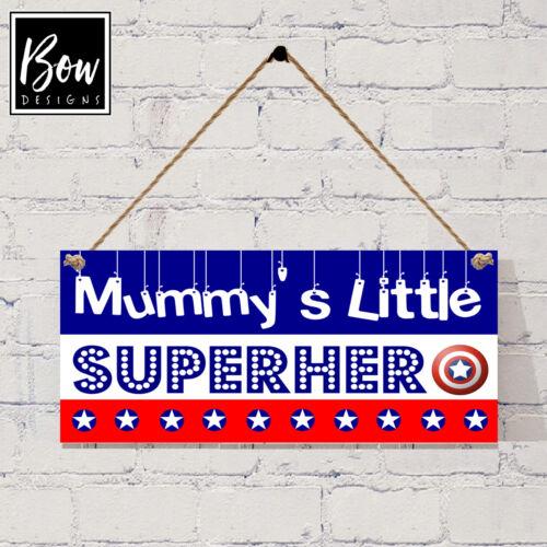 G031 mummy/'s little super-héros signe-garçons captain america chambre aux couleurs signe
