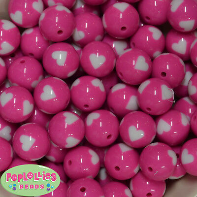 20mm Hot Pink with White Hearts Resin Chunky Bubblegum Beads 20 pc
