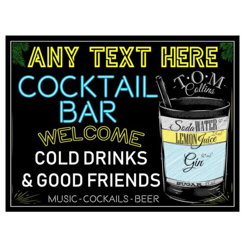 Personalised metal tin bar sign cocktail home bar pub man cave novelty gift