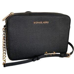 Details about Michael Kors Jet Set Item Crossbody Bag Saffiano Leather Black