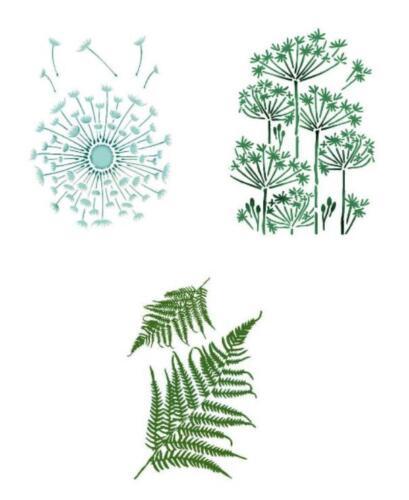 1 Schablone A4 FLORALE MOTIVE filigrane Blumen Stencil für Textil Wand STAMPERIA
