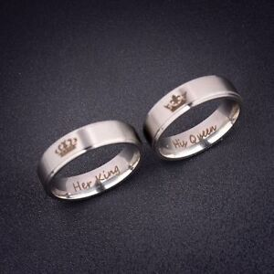 Her King His Queen Romantic Couple Ring Jewelry Stainless Steel ...